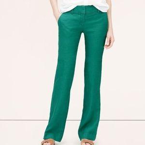 NWT LOFT Linen Wide Leg Trousers Marisa Green Sz10